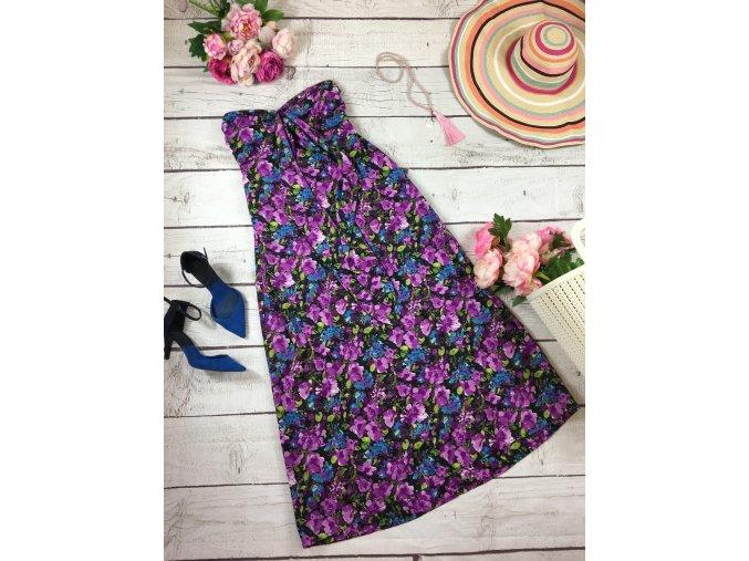 Dlouhé šaty s fialovými květy