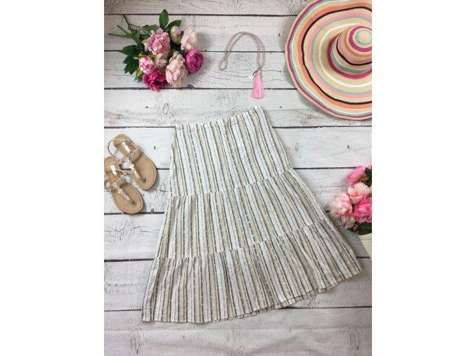 Bavlněná pruhovaná midi sukně