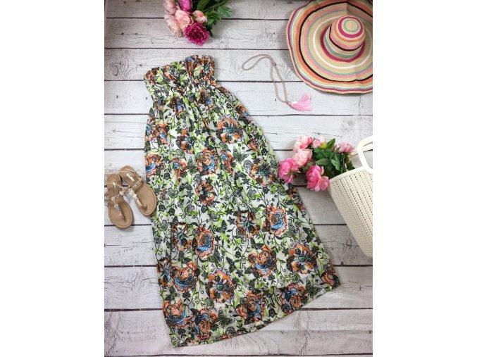 Dlouhé šaty s květy a motýly