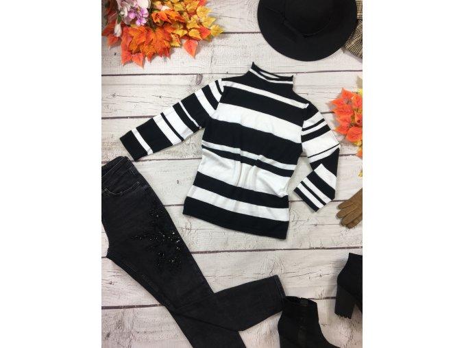 Černo-bílý svetr/rolák Sisley