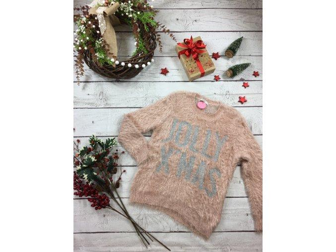 Chlupatý růžový vánoční svetr C&A