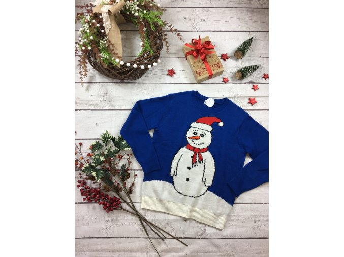 Modrý vánoční svetr se sněhulákem
