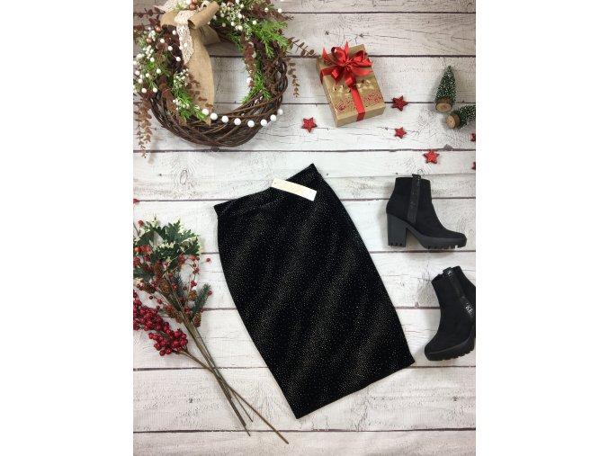 Černá pouzdrová sukně s kamínky NOVÁ