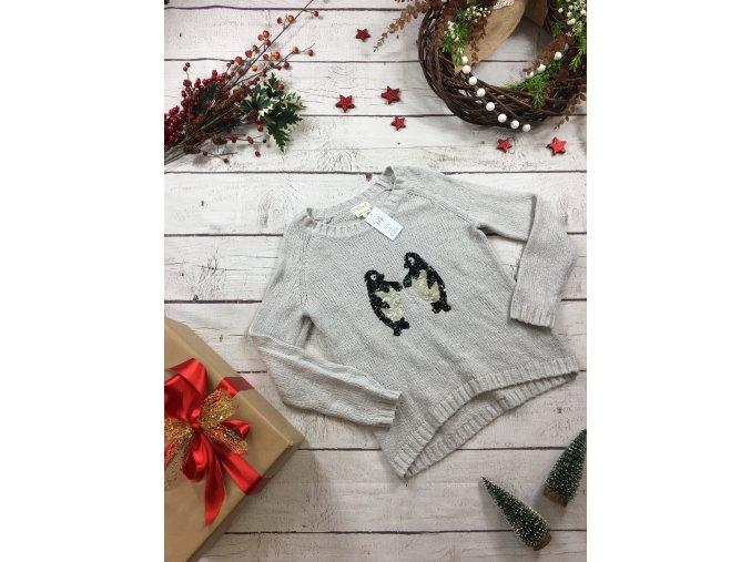 Šedý vánoční svetr s tučňáky Next