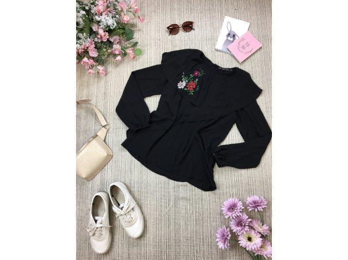 Černá halenka s květy Zara