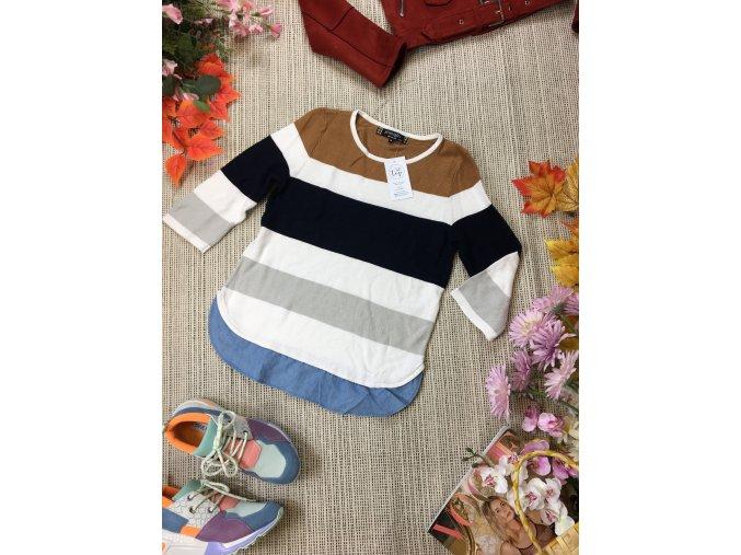 Pruhovaný svetr s košilí
