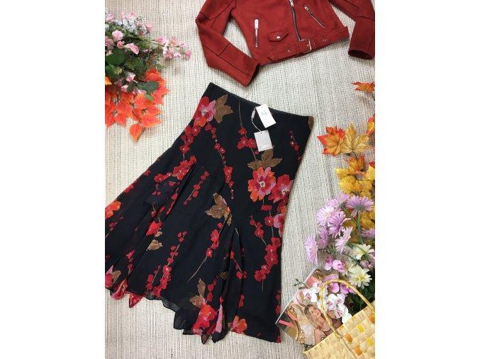 Černá sukně s květy, nová