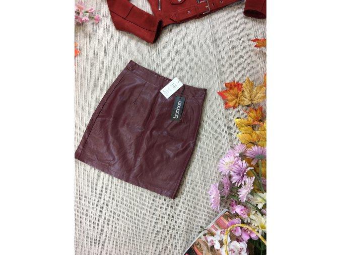 Vínová koženková sukně boohoo nová