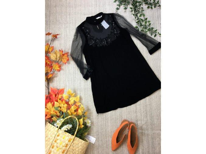 Sametové šaty s krajkou Zara