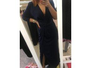 Tmavě modré luxusní šaty MISSGUIDED