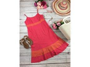 Lněné růžové šaty M&S