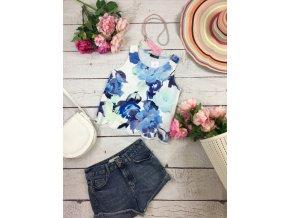 Crop top modrý s květy