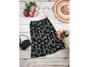 Černá midi sukně s květy