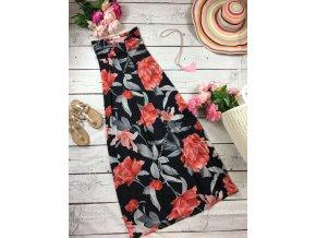 Dlouhé letní šaty s červenými květy