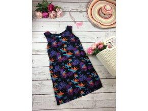 Letní lehké šaty s tropic vzorem