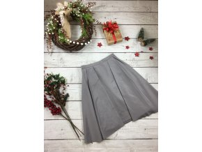 Šedá společenská sukně s mašlí