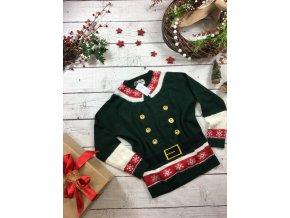 Zelený vánoční svetr s knoflíky