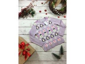 Vánoční fialkový svetr