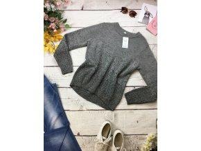 Šedý svetr se stříbrnou nití H&M