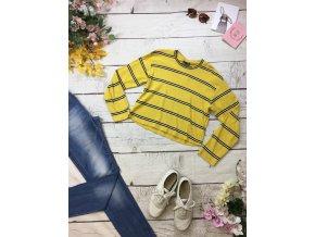 Pruhovaný žlutý svetr do pasu Topshop