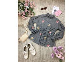Košile s vyšívanými květy Topshop