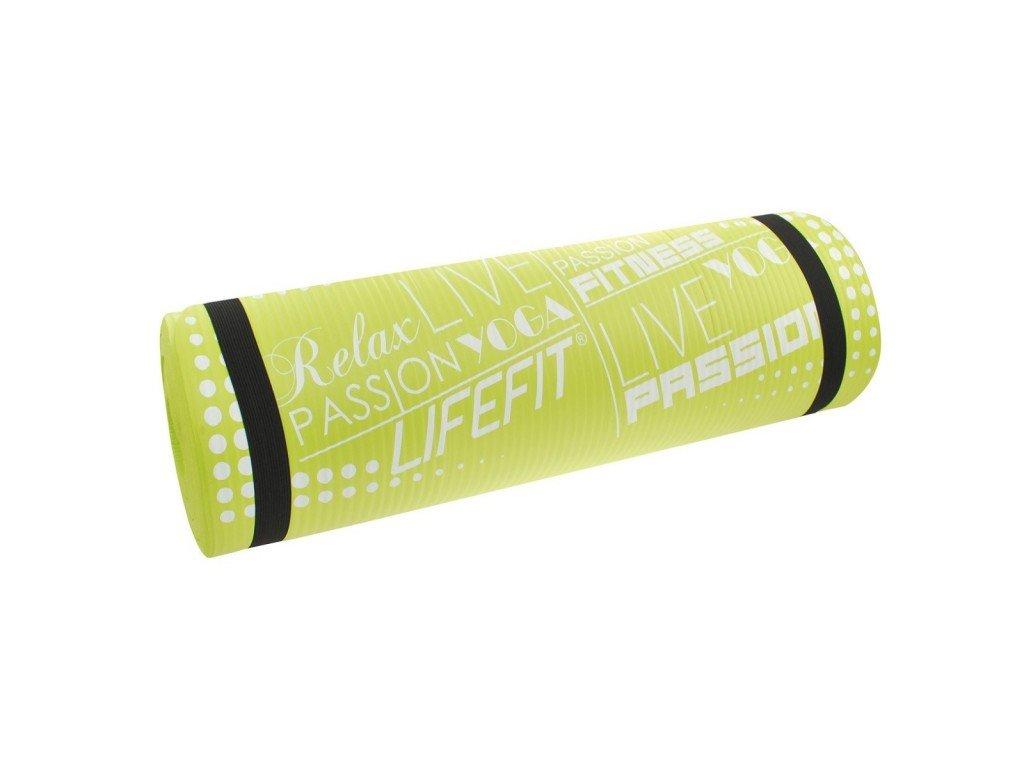 Podložka LIFEFIT YOGA MAT EXKLUZIV PLUS, 180x60x1,5cm, světle zelená