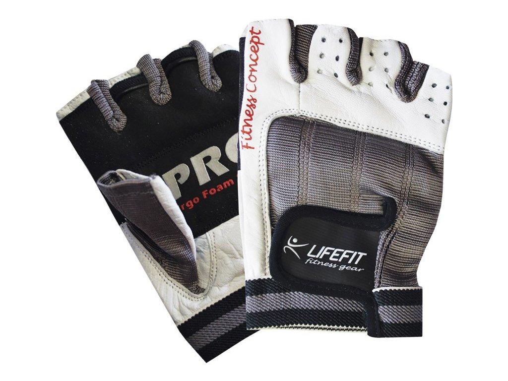 Fitness rukavice Lifefit PRO, bílé