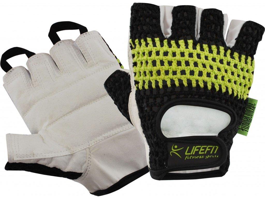 Fitness rukavice Lifefit FIT pletené černo-zelené