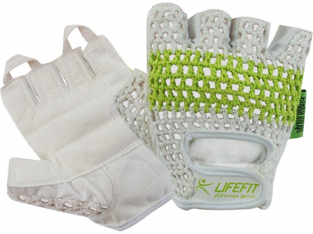 Fitness rukavice Lifefit Fit pletené bílo-zelené