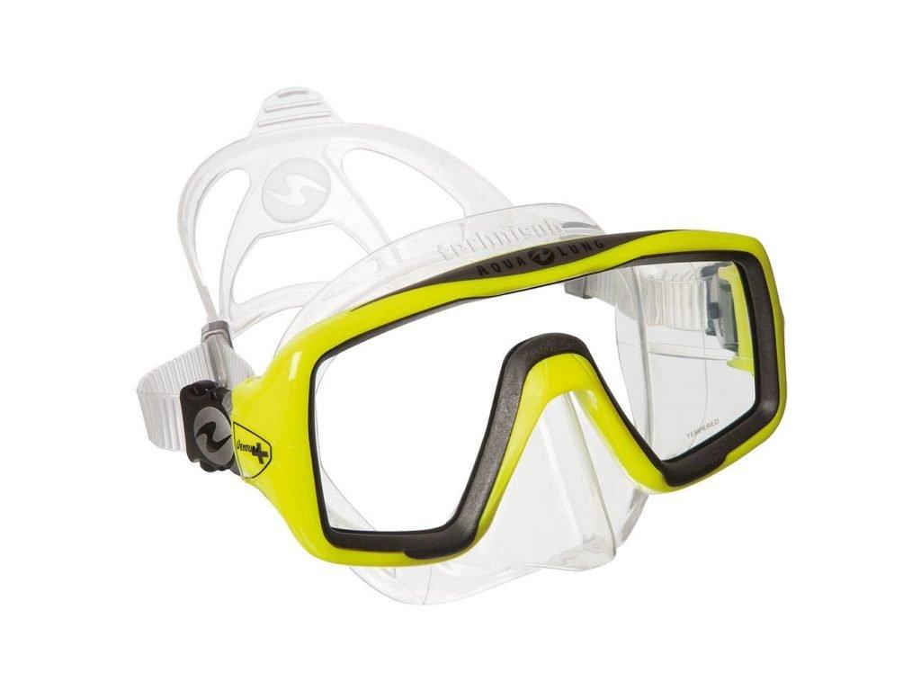 Maska Technisub Ventura+ transparent lime