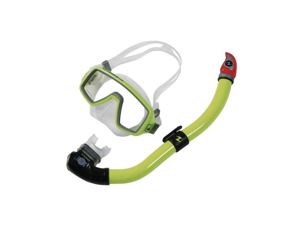 Set maska Technisub Ventura Midi + šnorchl Heliox P.V. MIDI hot lime