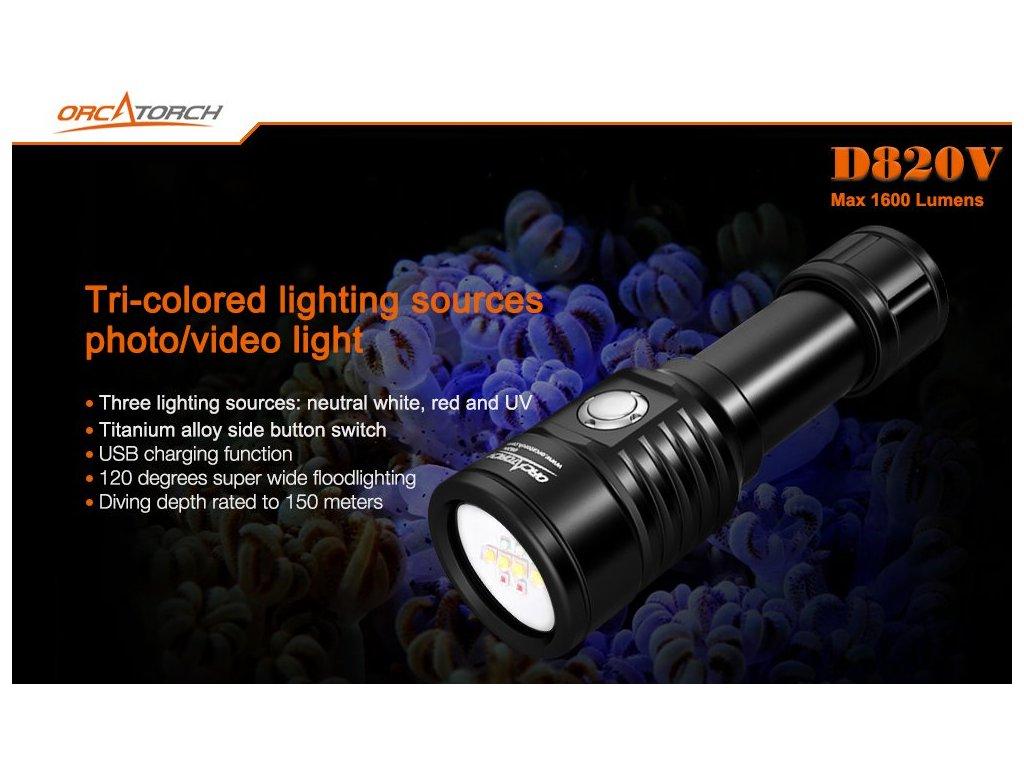 Video Svítilna Orcatorch LED D820V