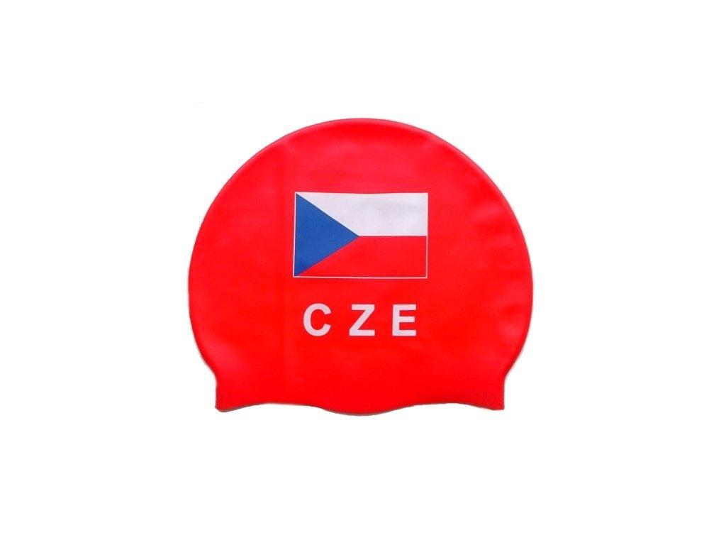 Plavecká čepice Topswim s vlajkou ČR red