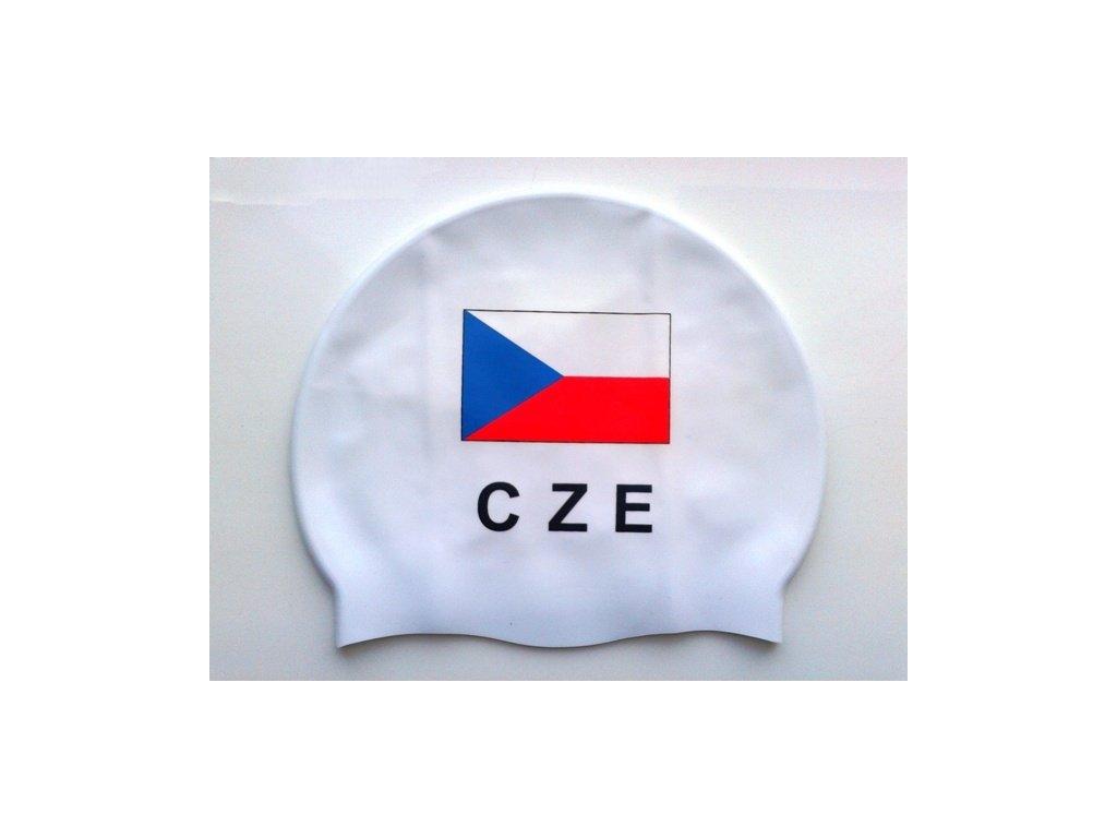 Plavecká čepice Topswim s vlajkou ČR white