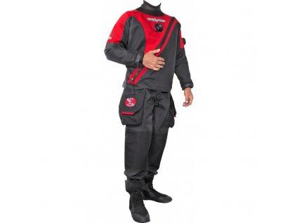 Trilaminátový suchý oblek Dive System Solo červený