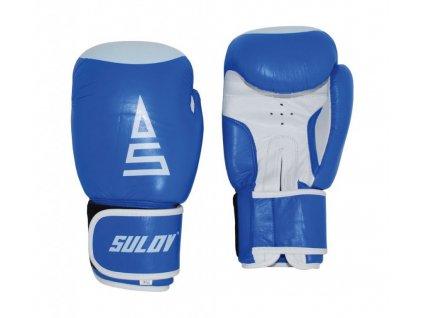 Box rukavice SULOV, kožené, modro - bílé