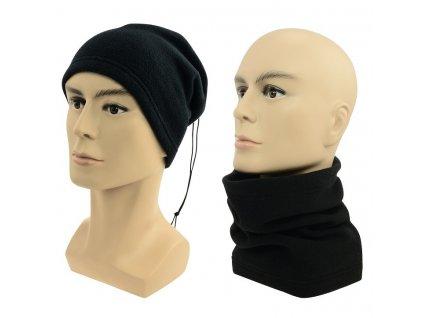 Multifunkční šátek 2v1 Fleece černý