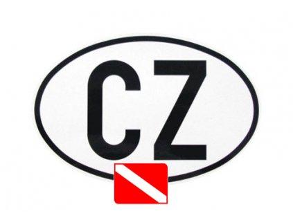 Samolepka na auto CZ s potápěčskou vlajkou