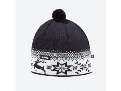 Pletená Merino čepice Kama AW01 černá