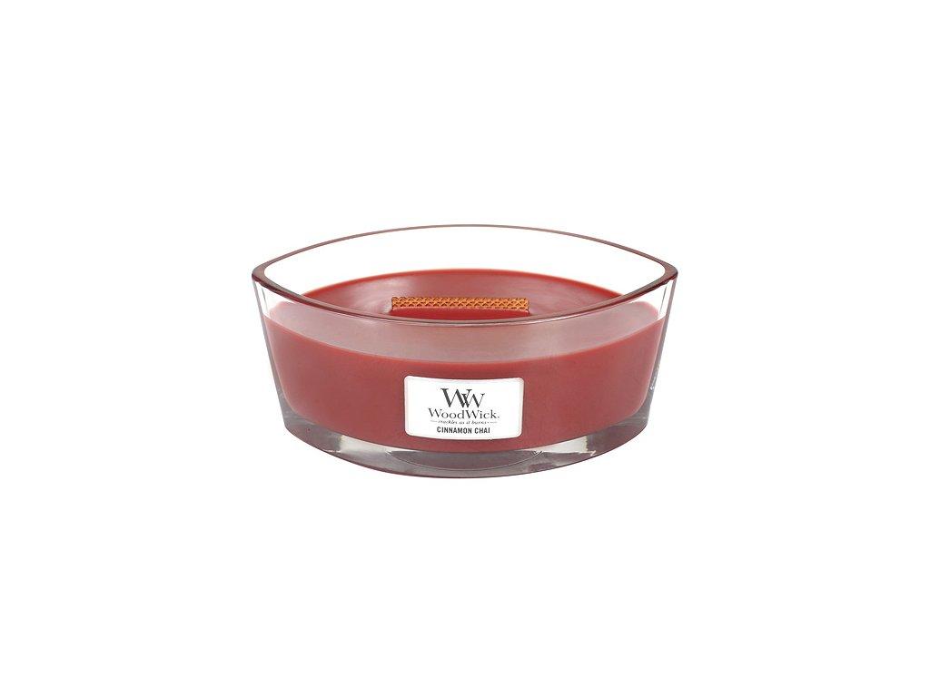 Svíčka WoodWick Cinnamon Chai, skořice a vanilka, 453.6 g