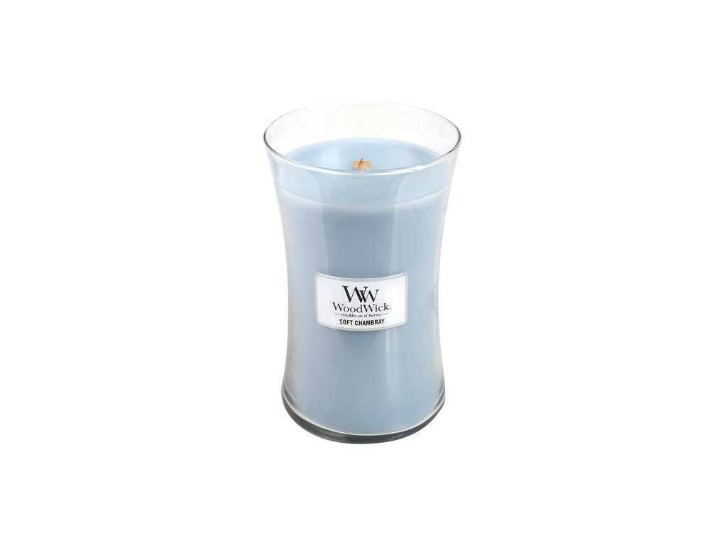 Svíčka WoodWick čisté prádlo, jasmín a růže, 623.7 g