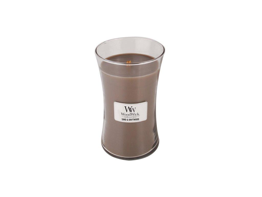 Svíčka oválná váza WoodWick Písek a naplavené dříví 609.5 g
