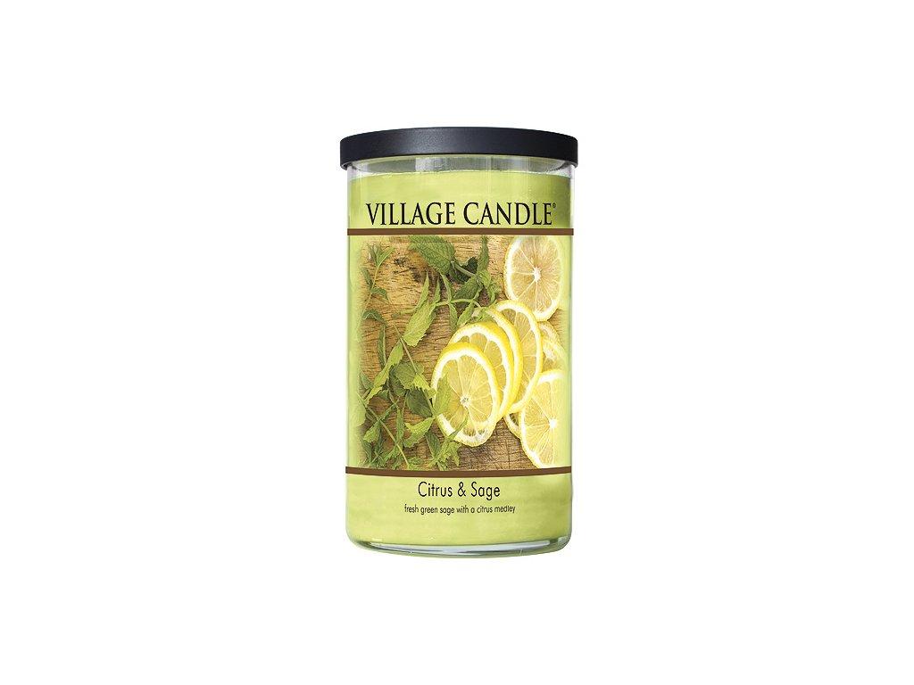 Svíčka Village Candle 680g, citrusy a šalvěj