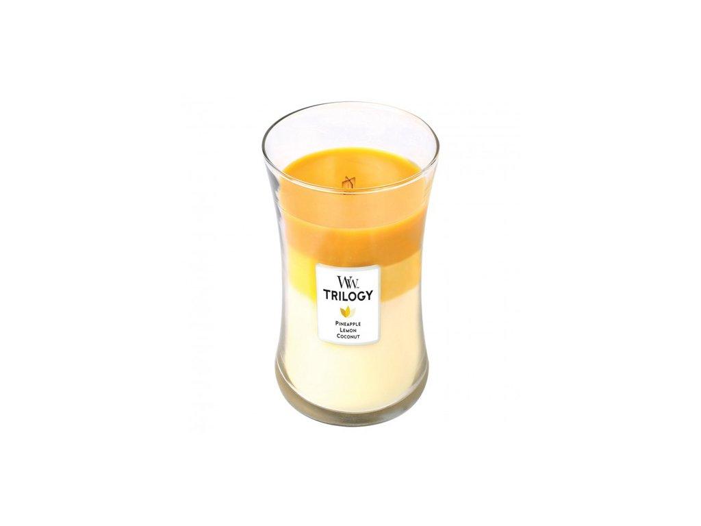 Svíčka Trilogy WoodWick ananas, citrón a kokos 609,5 g
