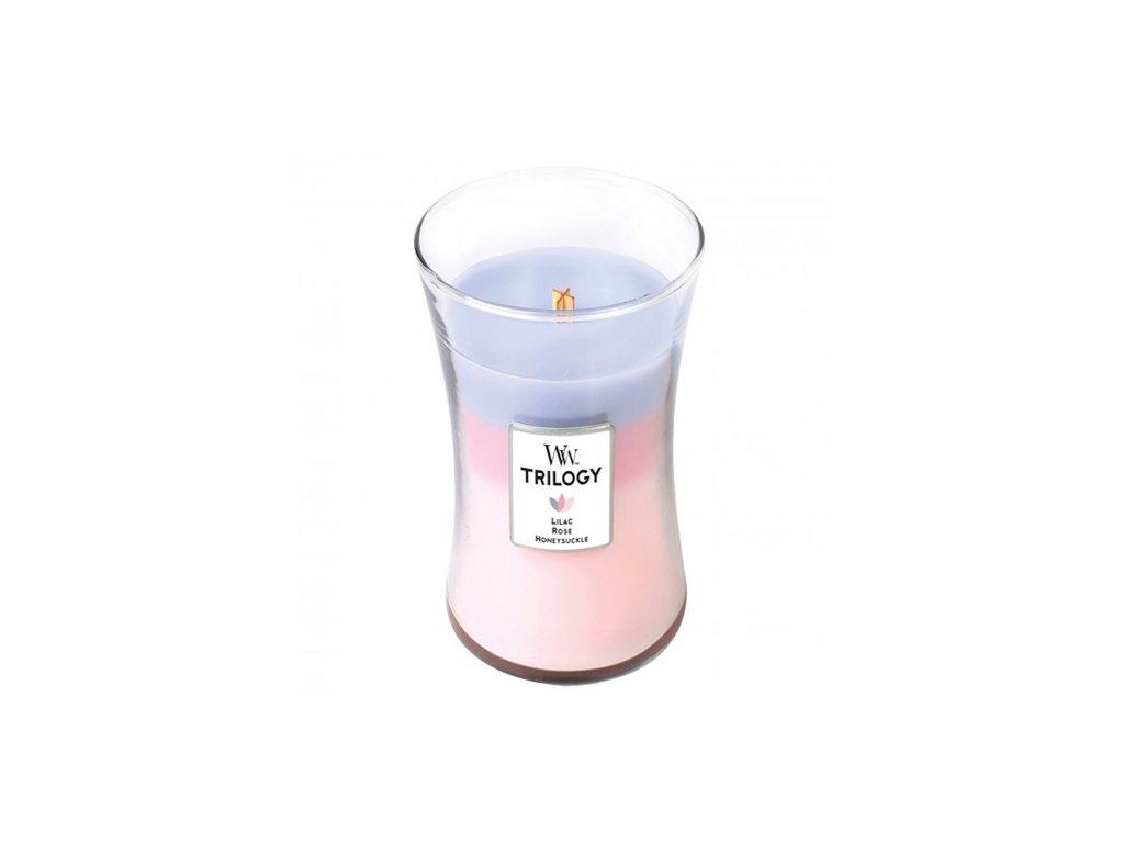 Svíčka Trilogy WoodWick Botanická zahrada | šeřík, růže a zimolez 609.5 g