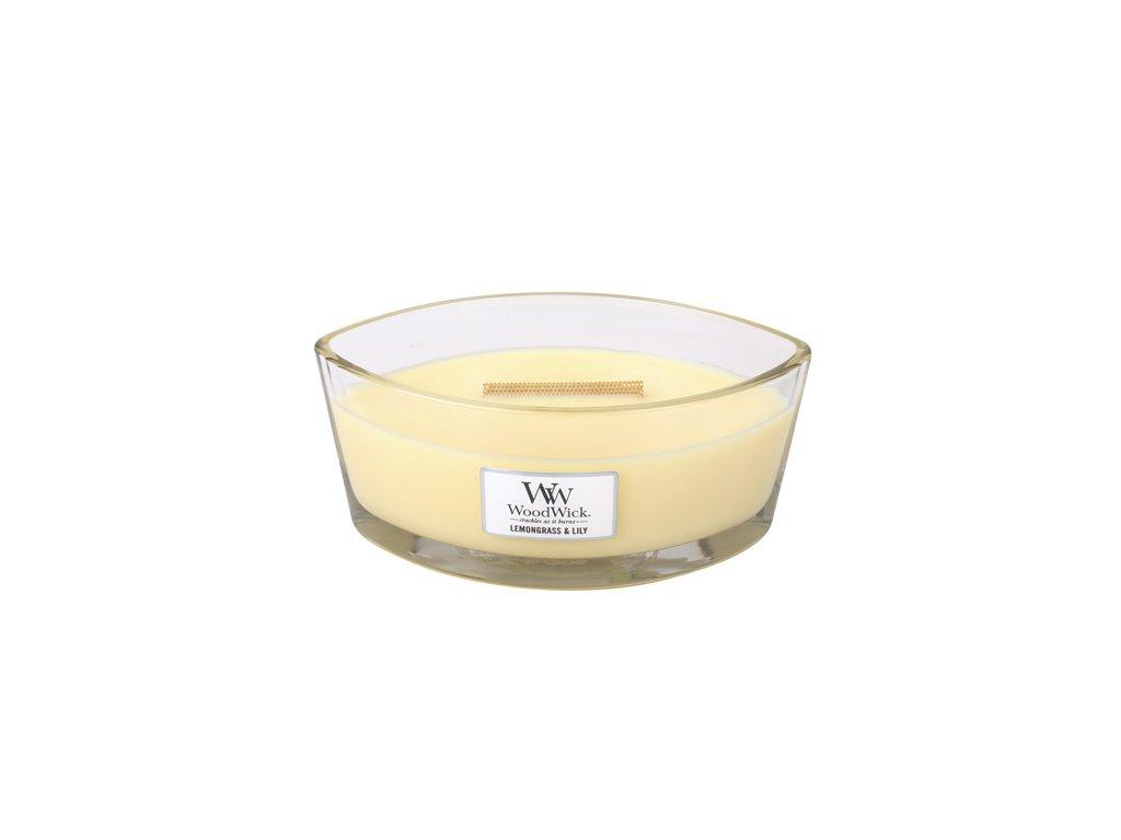 Svíčka WoodWick Citronová tráva a lilie / Lemongrass, 453.6 g