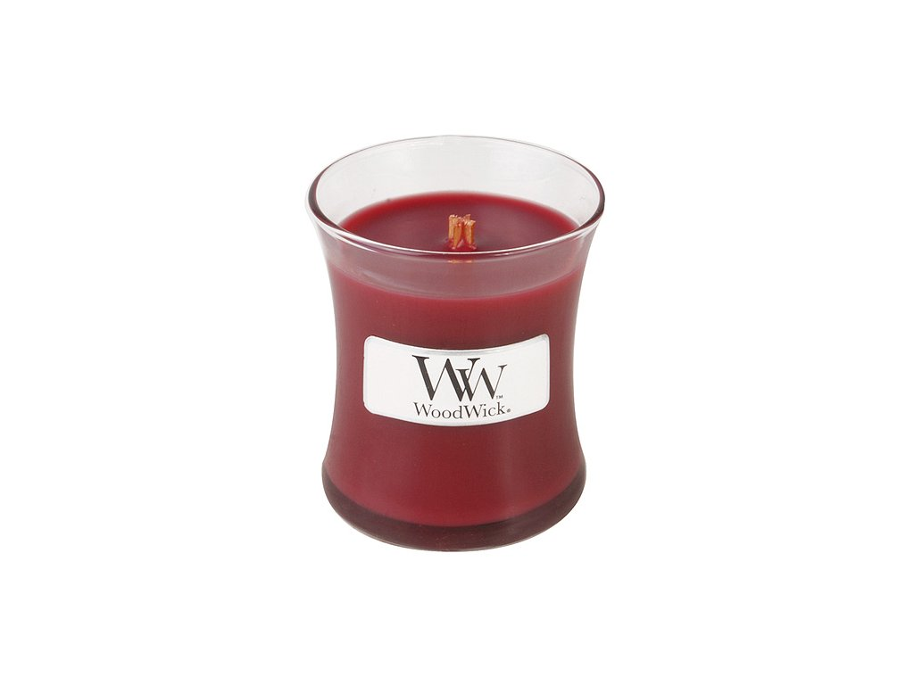 Svíčka oválná váza WoodWick Skořice a vanilka, 85 g
