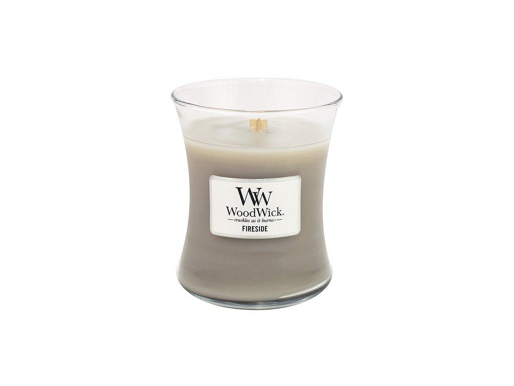 Svíčka oválná váza WoodWick Oheň v krbu 275 g