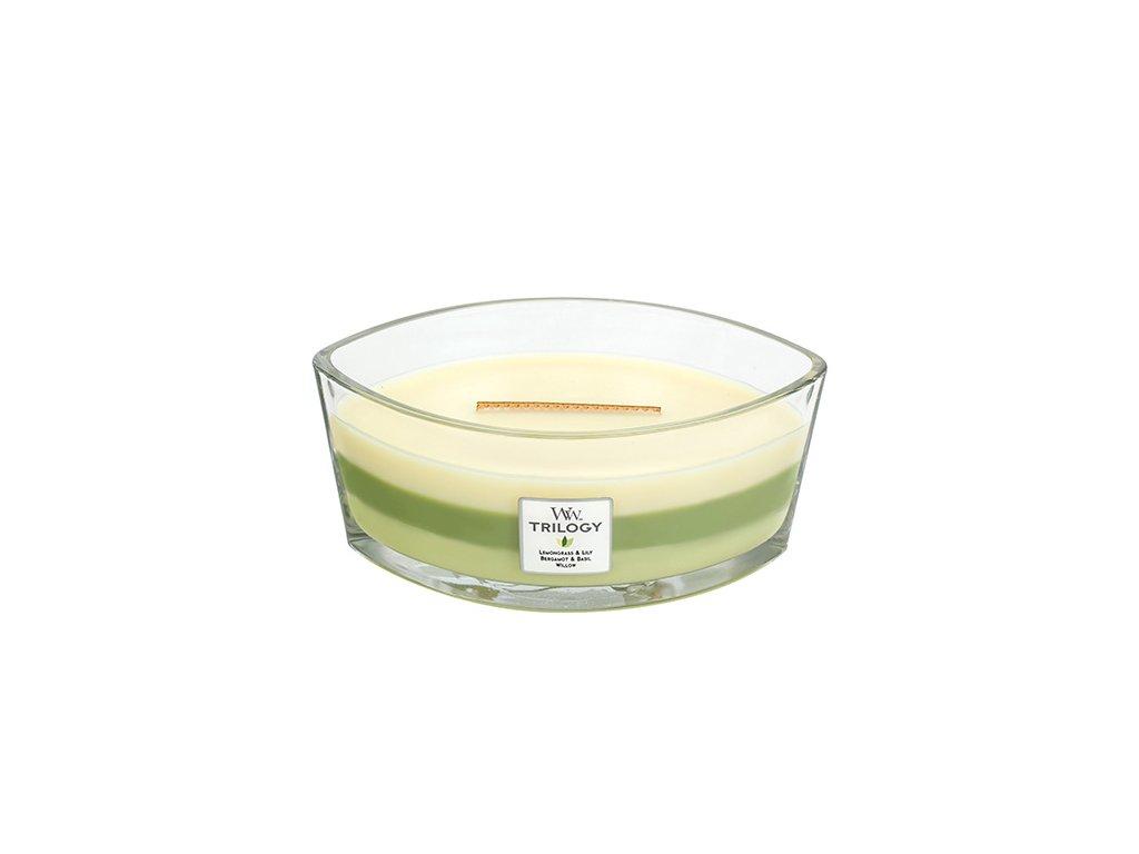 Svíčka dekorativní váza WoodWick Zelená oáza 453,6 g