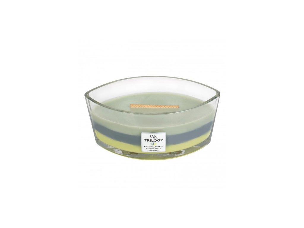 Svíčka dekorativní váza WoodWick Lesní stín 453,6 g
